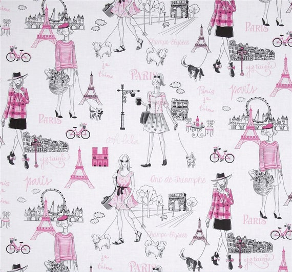 Items Similar To Paris Theme Shower Curtain Gray Pink Shower Curtain French Home Decor Girl 39 S