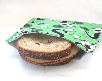 Reusable Sandwich Bag Eco Friendly Lunch Bag Soccer Theme Sandwich Bag Food Storage Back To School Lunch Storage