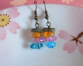 Rainbow Pebble Earrings, Colorful Beads Earrings, Antiqued Brass, Gift For Her