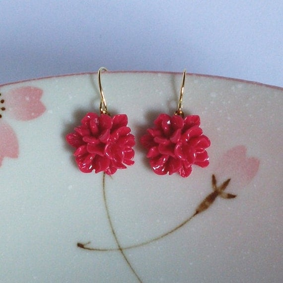 Red Flower Earrings, Posy Earrings, Rose Red Bouquet, Lightweight Earrings