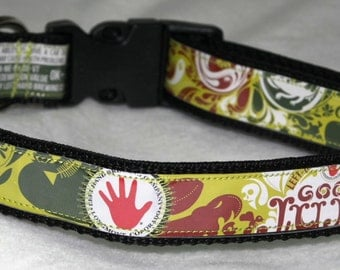 Adjustable Dog Collar from Recycled Left Hand Good JuJu Beer Labels