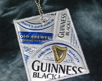 Mini Luggage Tag from Recycled Guinness Black Lager Beer Labels