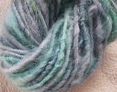 Handspun Art Yarn of Soft Curly Leicester Longwool Wool in Pale Aquamarine Blue and Green by KnoxFarmFiber for Knitting Weaving Crochet
