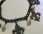 Fleur de Lis and Pearls Charm Bracelet - v1