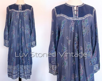 Vintage 70s Chambeli Pakistan Indian Ethnic Cotton Boho Hippie India Gypsy Festival Tent Midi Maxi Dress | medium | 1069.8.1.15