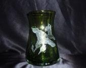 Humming Bird Glass Vase, Hand Carved Humming Bird, Bird Home Decor, Glass Wedding Gift, Green Glass Vase, Hand Carved Vase, Etched Vase