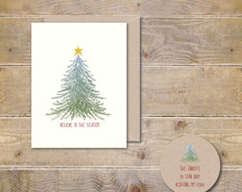 Christmas Cards, Holiday Card Set, Personalized Christmas Cards, Recycled Christmas Cards, Christmas Tree, Rustic Christmas Cards, Star