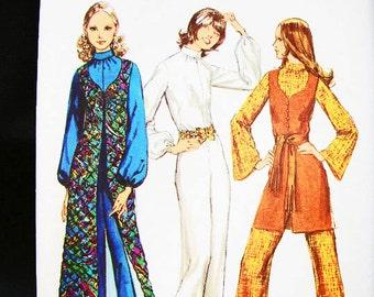 70s Jumpsuit Pattern Misses size 12 Vintage Sewing Pattern Womens Jumpsuit Pattern with Long Duster Vest Vintage Sewing Pattern