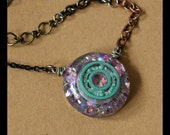 Roller Derby Bearing Necklace - hand cast resin pendant