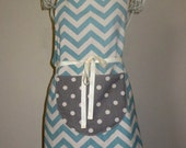 Full Butcher's Work Apron in Chevron Canvas, Adult and Child, Unisex