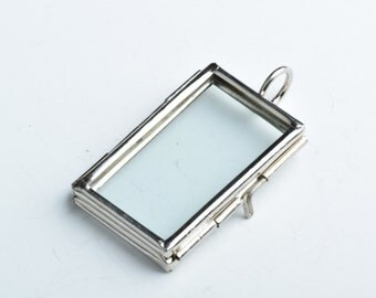 6 Glass Locket Pendants, small hinged rectangle, G2329.79