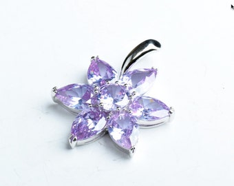 30mm(1.18in) Cubic Zirconia Flower Pendant, Aqua EA, EA B4060.31