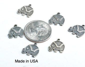 Elephant Charm, Brass , plated Antique Silver set of 6,