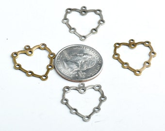 27x30mm Vintage Brass Large Heart Charm pk/6