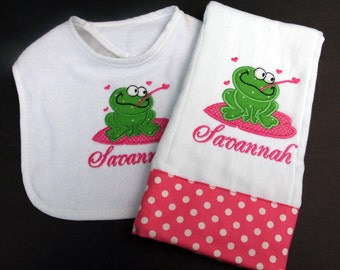 Custom Boutique Personalized Monogramed Name Frog Bib and Burp Cloth Set