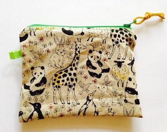 Handmade Cloth Zipper Bag, Japanese Linen Animal Print