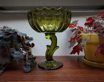Vintage Green Glass Tall Flower Pedestal Bowl