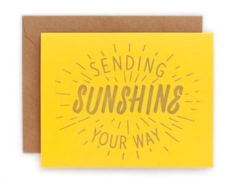 Sending Sunshine Your Way - Folded Letterpress Card