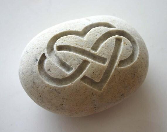 Infinity Heart Engraved Stone Wedding Oath Stone Celtic