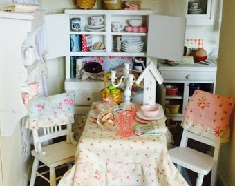 Sale-Miniature Dollhouse Shabby Table, Tablesetting, Accessories, 2 Chairs and Chair covers and Rug-1:12 scale