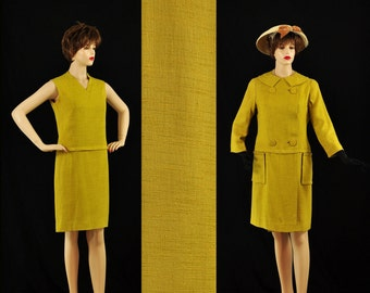 Vintage 1960s Mustard Yellow Dress with Matching Coat M 60s Day to Night Ready