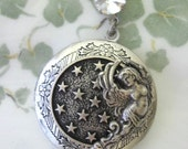 Starry Night Locket, Moon and Stars, Angel Necklace, Silver Locket Necklace, Guardian Angel Jewelry, Silver Locket Necklace, Antique Locket