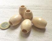 Set of 5 Wooden olives beads, polished and varnished 30 mm for macramé