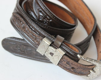 Vintage Textan Leather Brown Belt Tooled top Grain Cowhide Ernest Devore Shoe Shop Joplin Missouri Devores Western Shop