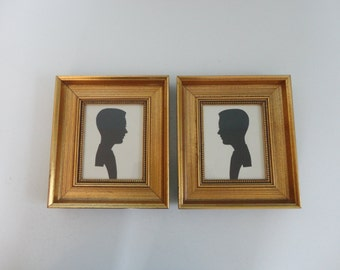 VINTAGE pair of gold framed male SILHOUETTE PORTRAITS