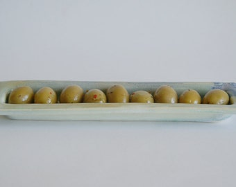 Ceramic Olive Condiment Tray / Porcelain Olive Tray / Handmade Pottery Olive Tray