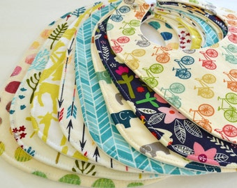 CHOOSE YOUR FABRICS . Set of 8 Organic Baby Bibs . Baby Girl or Boy Shower Gift