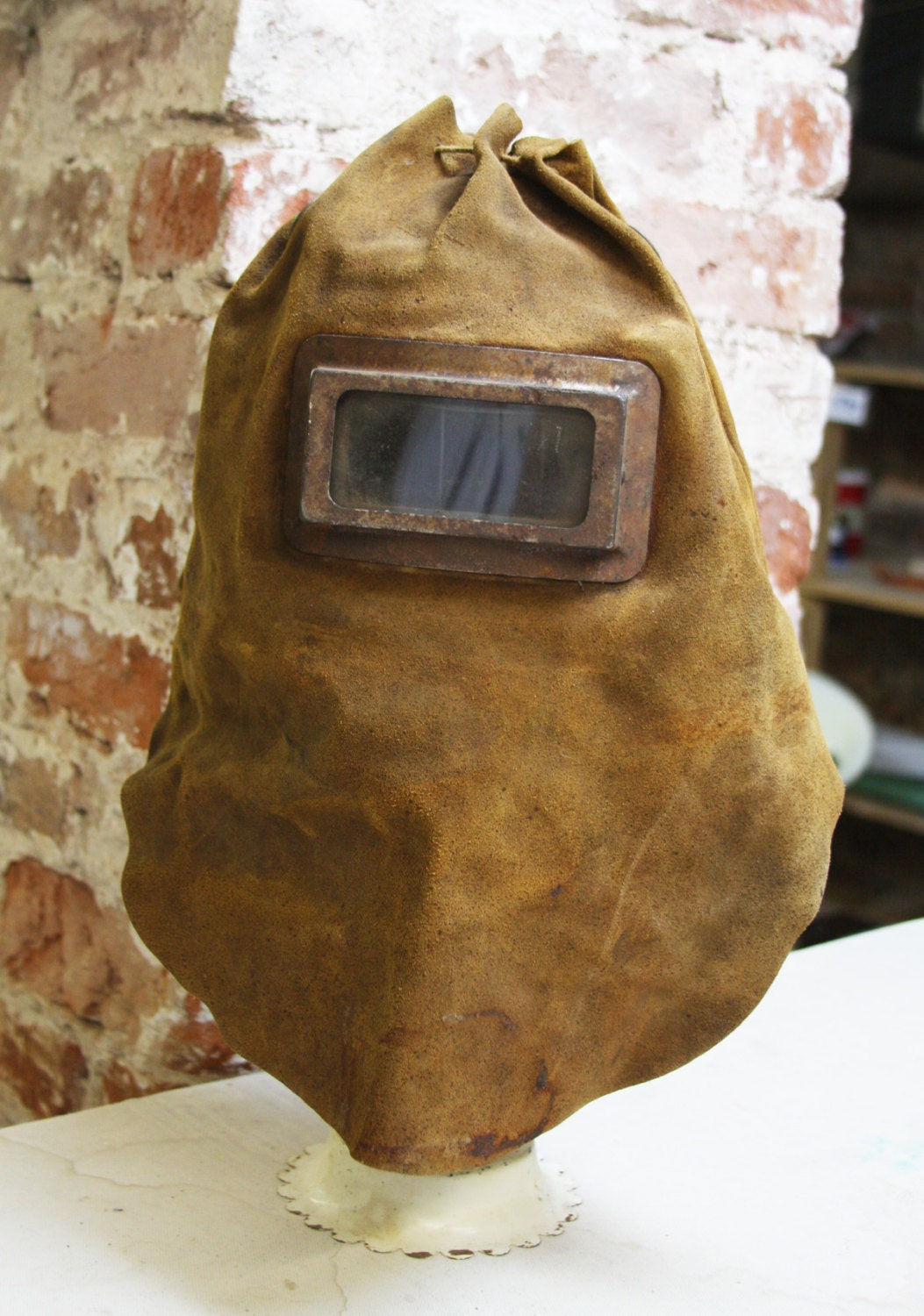 Vintage LEATHER WELDING Helmet Hood Workers Protective Mask