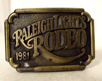 1981 Raleigh Lights Rodeo Vintage Western Belt buckle Cigarettes Distressed