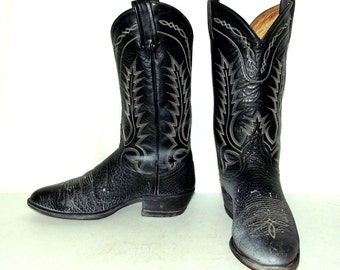 Distressed Black leather Tony Lama cowboy boots mens size 8.5 D / womens 10