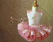 Pointed Crown and Name Birthday Tutu Outfit- Baby Pink and Gold sparkle- Includes embroidered top and ruffled tutu- - Many colors available