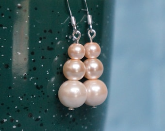 Triple Pearl Dangle Earrings
