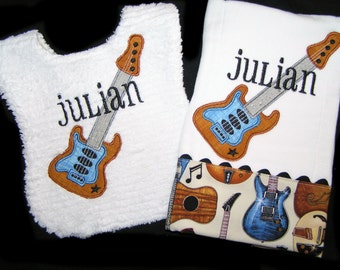 Personalized Baby Bib and Burp Cloth Gift Set - Appliqued Guitar - Reversible - White Chenille - Jam Session