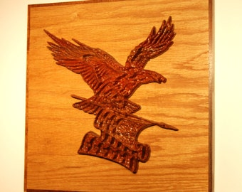 Intricate eagle carving - mounted and framed - 10129