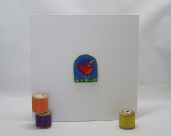 Red Bird in the Rain - original stitched art work