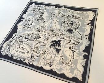 Vintage Florida handkerchief hankie St. Pete St. Petersburg souvenir 1940s rare hard to find black white gray Floridiana kitsch souvenir