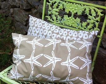 Pillow Beach Throw Pillow Beach House Decor Starfish Print White Tan