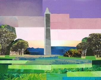 Pastel View of the Washington Monument, 5x7 inch ORIGINAL COLLAGE ART