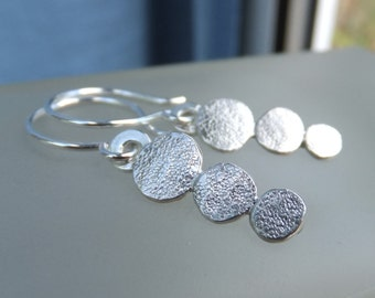 Stepping Stones Sterling Silver Earrings - Textured Pebbles - Handmade Organic Metalwork Hand Stamped Textured Jewelry - Bright Shiny