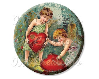 "Pocket Mirror, Magnet or Pinback Button - Shower Favors, Bridesmaid, Wedding - 2.25""- Vintage Cupids Mending Hearts MR206"