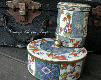 Vintage English Daher Floral Tins Round  Made in England Collectible Candy Tin Bohemian Style Home Decor