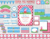 Peppa Pig {Inspired} Party Package - Print at home PDF File (Partial Instant Download)