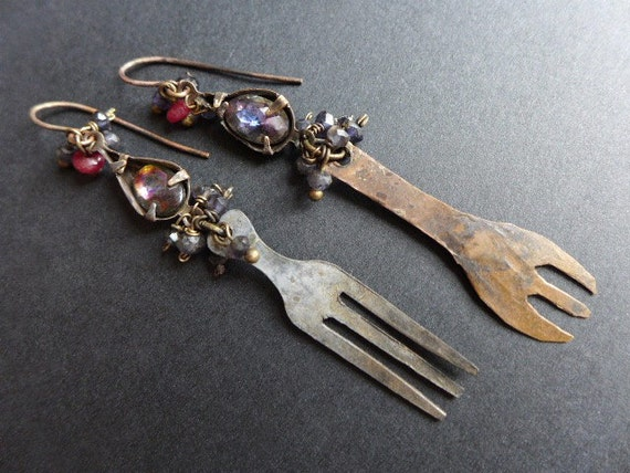 Nourishment. Rustic assemblage earrings with forks and iolite.