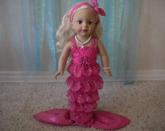 4-pc. Pretty Pink Mermaid Costume for 18 inch Dolls