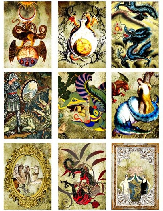 maidens ancient dragons collage sheet digital download printable art 2 BY 3 inch clip art graphics images dragon scrapbooking crafts