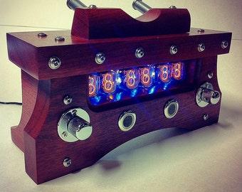 Steampunk Nixie Tube Desk Clock - Bloodwood & Steel Edition